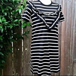 Zara striped ruffle dress